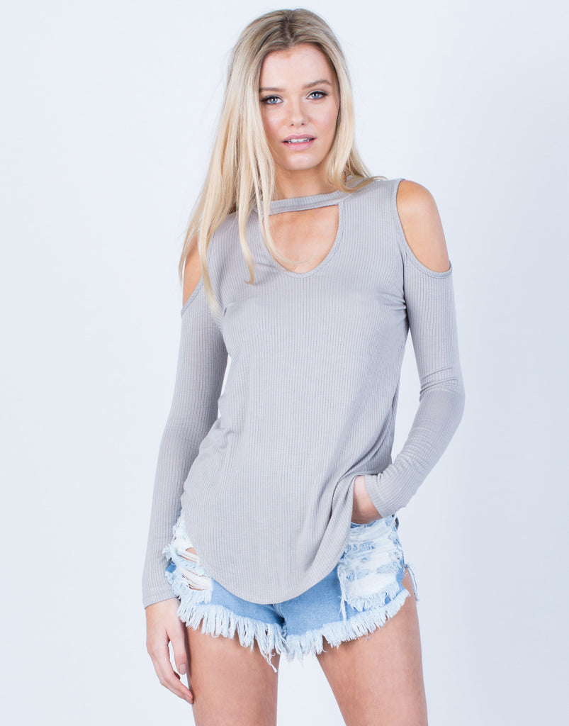 Front View of Knit Cold Shoulder Top
