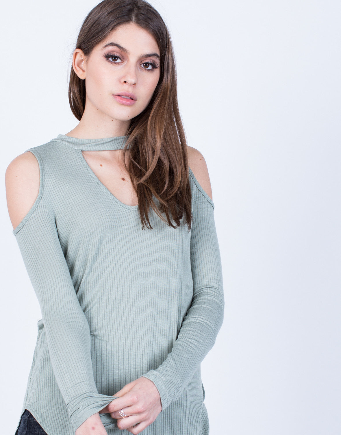 Detail of Knit Cold Shoulder Top