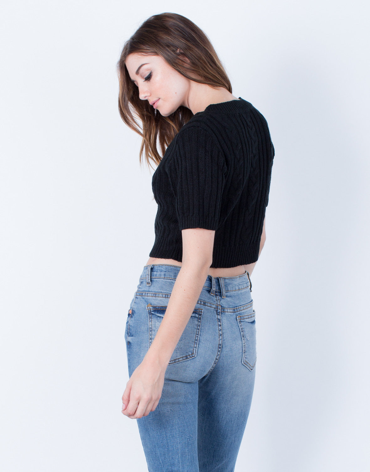 Back View of Knit Cropped Sweater Tee