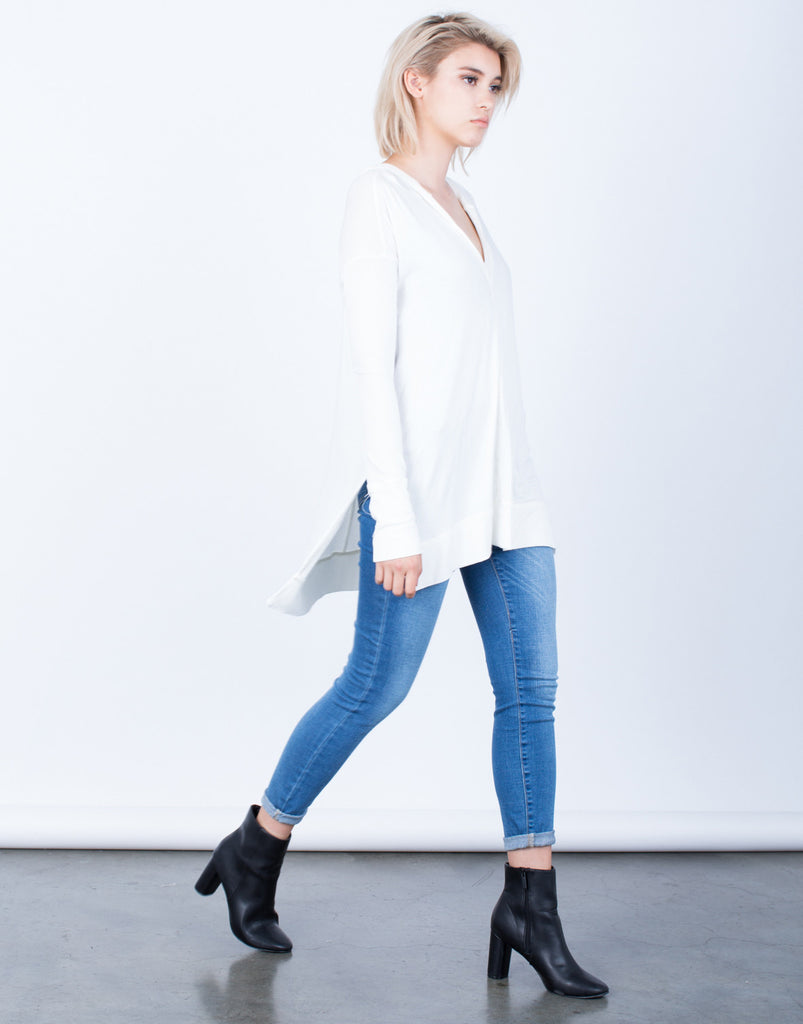 Knit Hoodie Tunic Top - 2020AVE