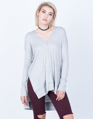 Front View of Knit Hoodie Tunic Top