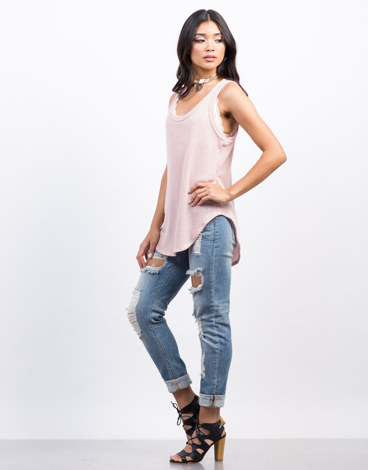 Side View of Knit It Tunic Tank