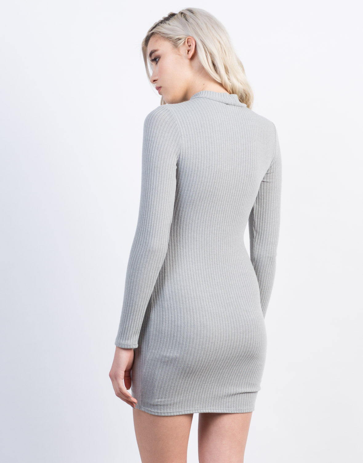 Back View of Knit Lace-Up Dress