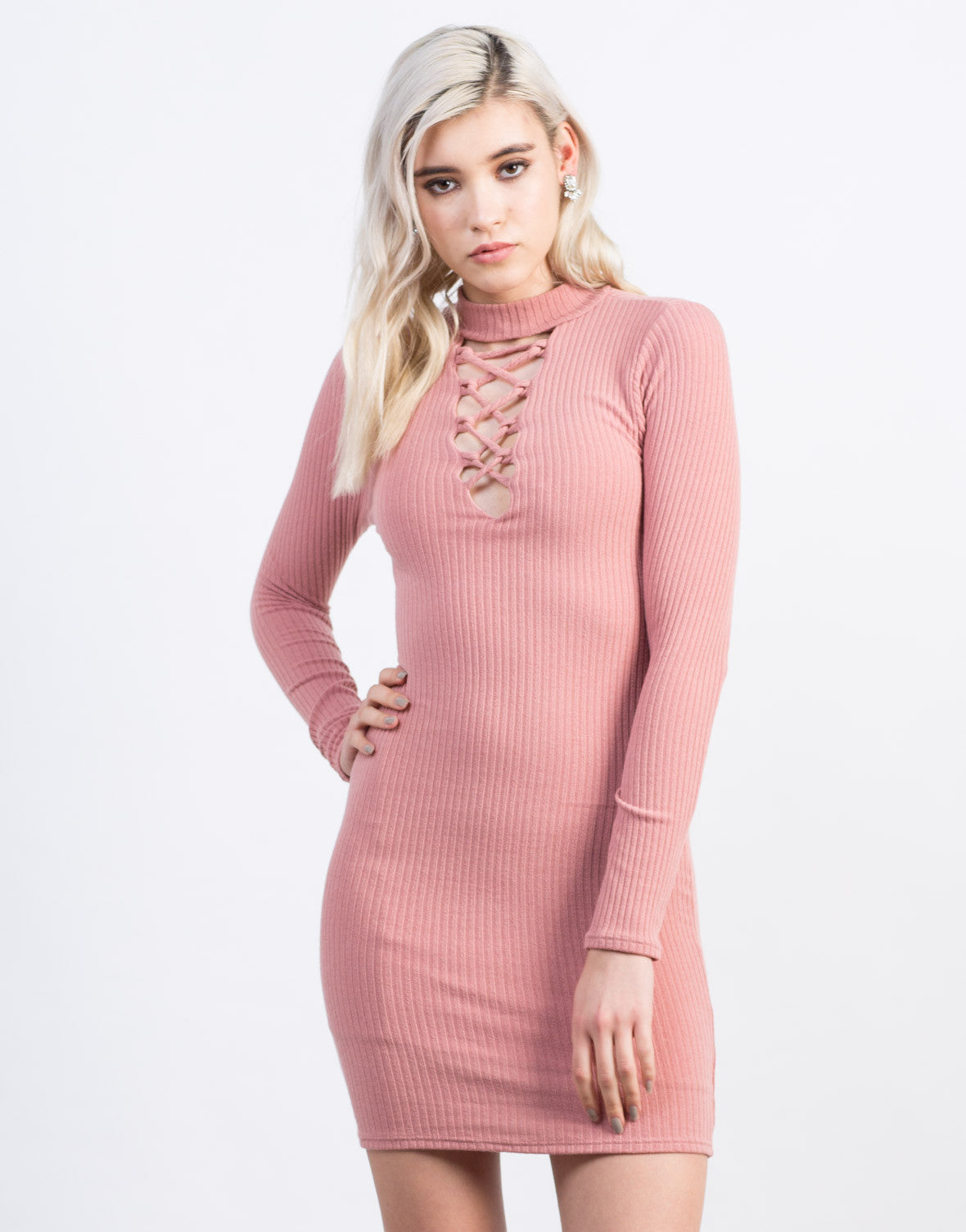 Front View of Knit Lace-Up Dress