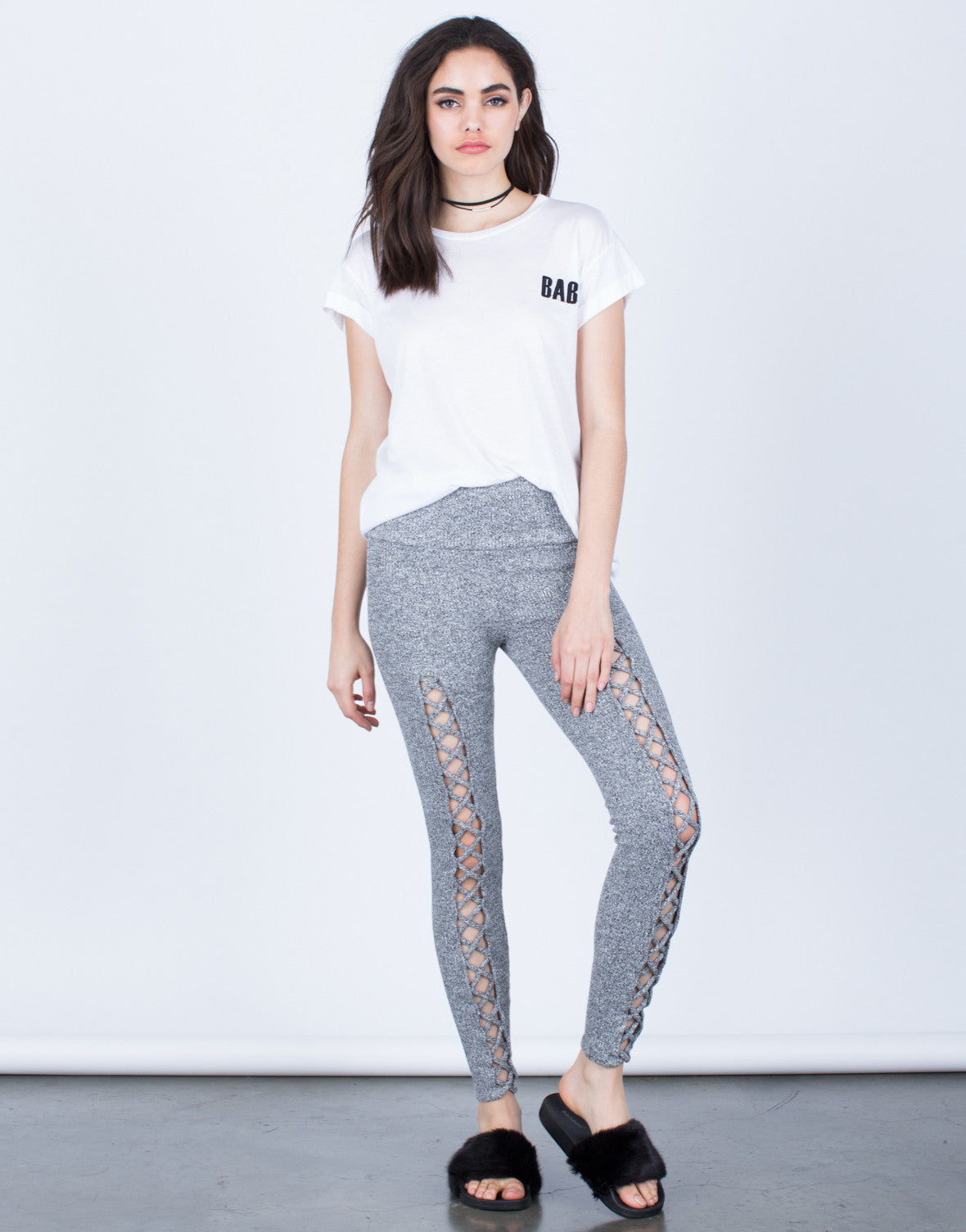 Knit Lace-Up Leggings