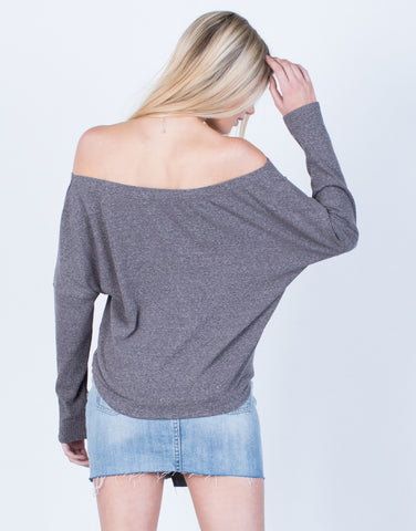 Back View of Knit Lace-Up Top