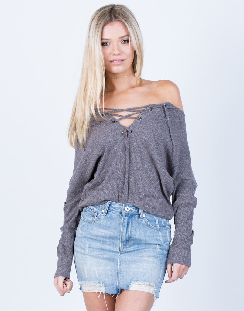 Front View of Knit Lace-Up Top