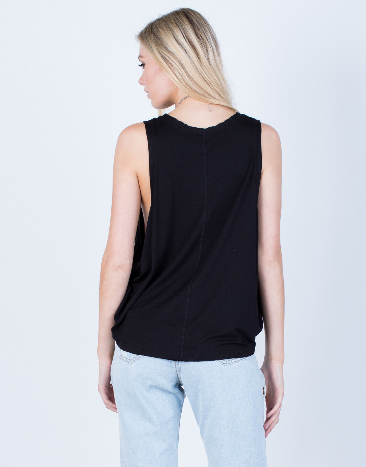 Back View of Knit Muscle Tank