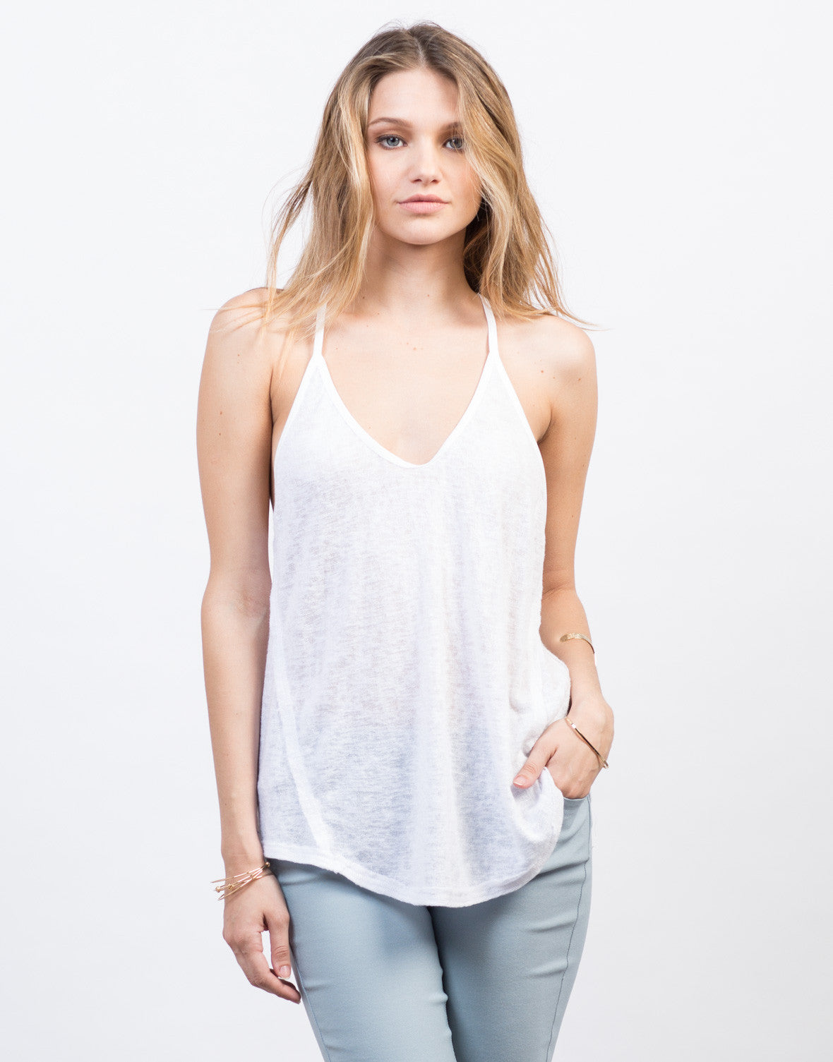 Front View of Knit Racerback Tank