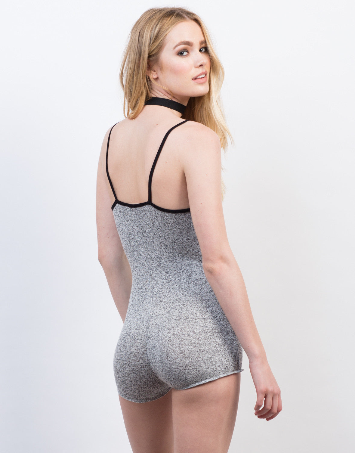 Back View of Knit Tank Romper