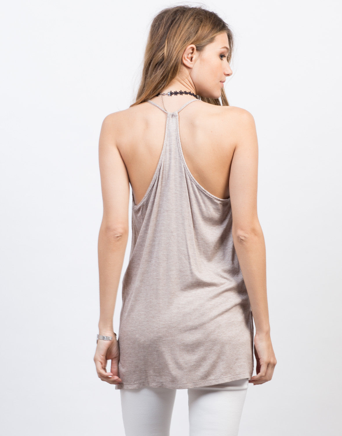 Back View of Knit V-Neck Racerback Tank