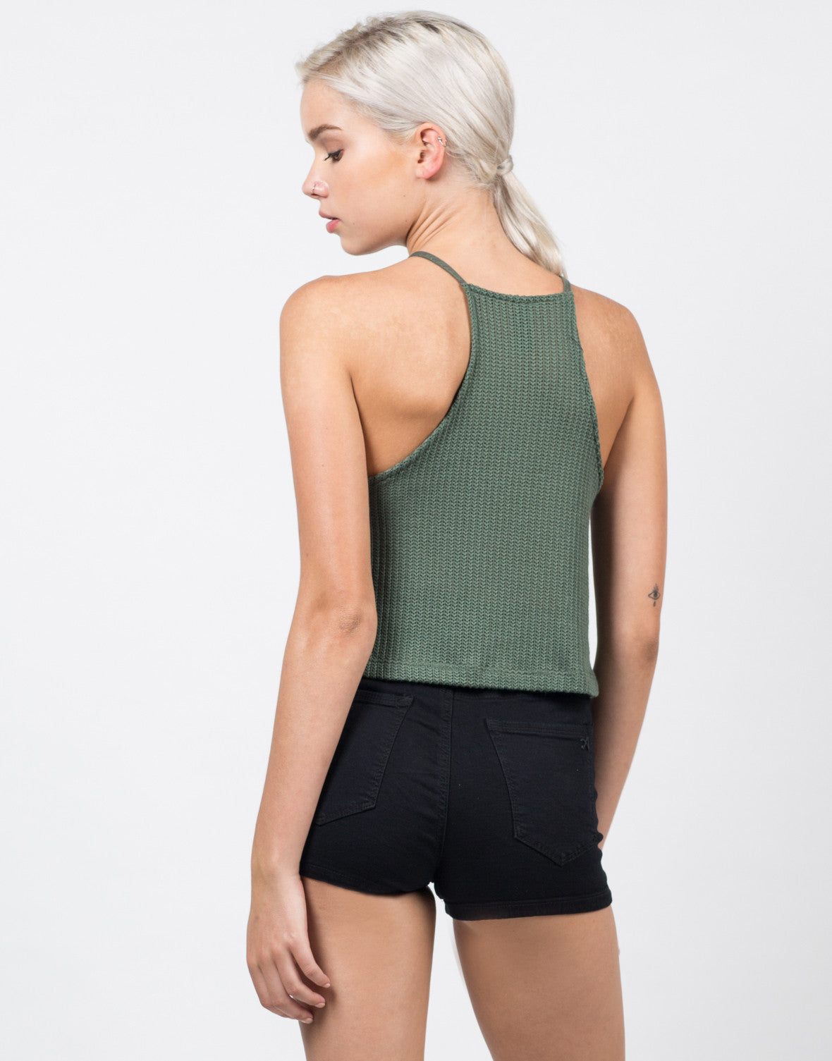 Back View of Knit Cami Swing Top