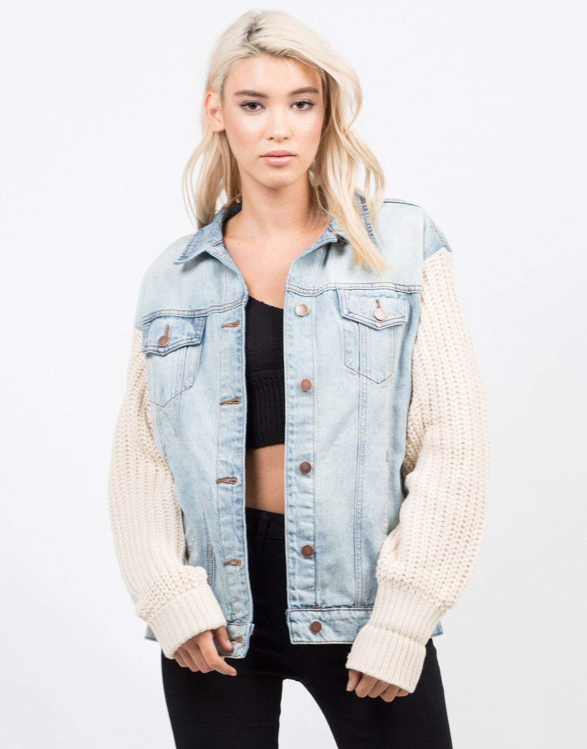 Front View of Knit Contrast Denim Jacket