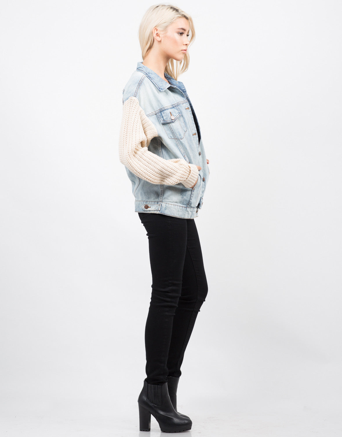 Side View of Knit Contrast Denim Jacket