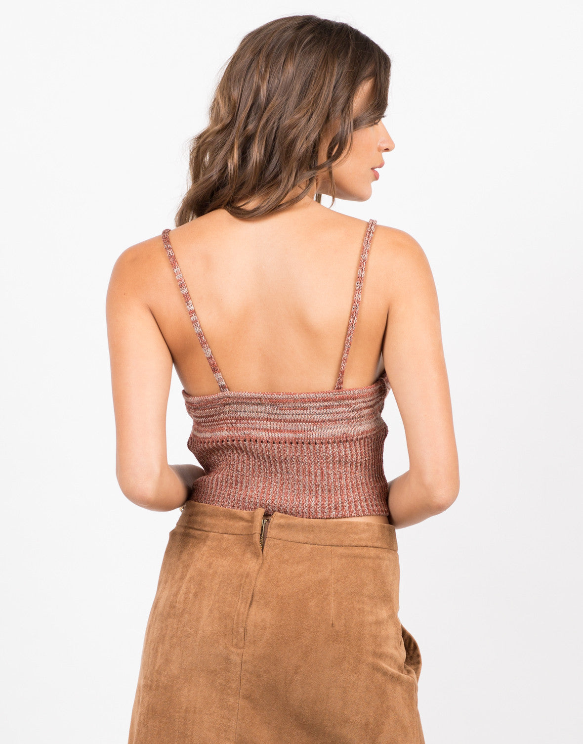 Back View of Knit Cropped Cami - Brick
