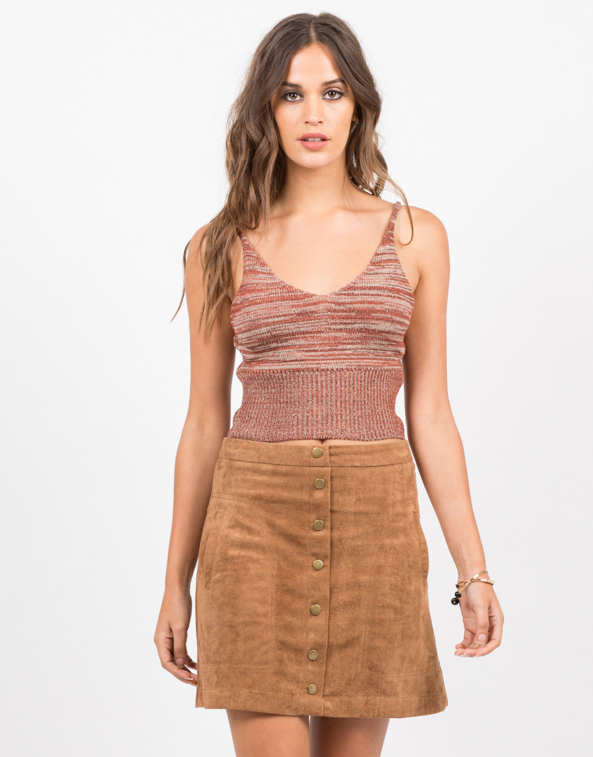 Front View of Knit Cropped Cami - Brick