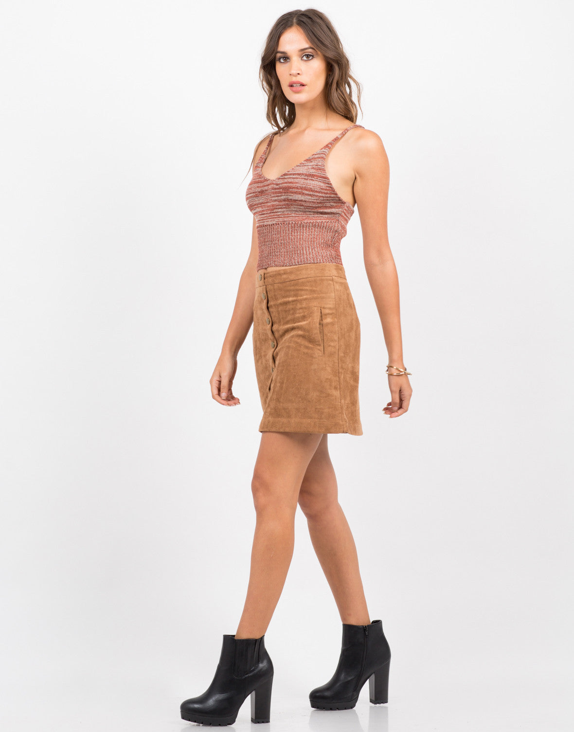 Side View of Knit Cropped Cami - Brick