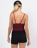Back View of Knit Cropped Cami - Burgundy