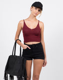 Front View of Knit Cropped Cami - Burgundy
