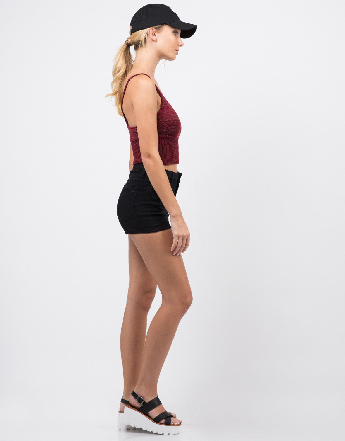 Side View of Knit Cropped Cami - Burgundy