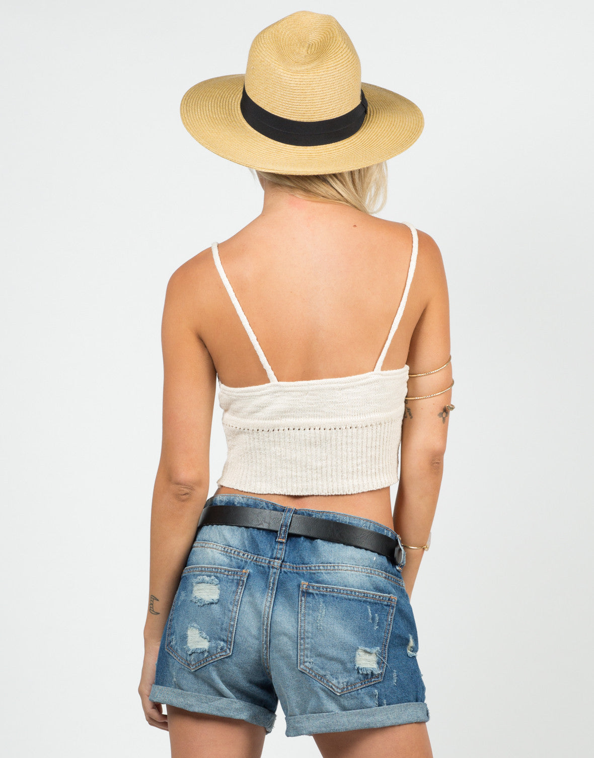 Back View of Knit Cropped Cami - Cream