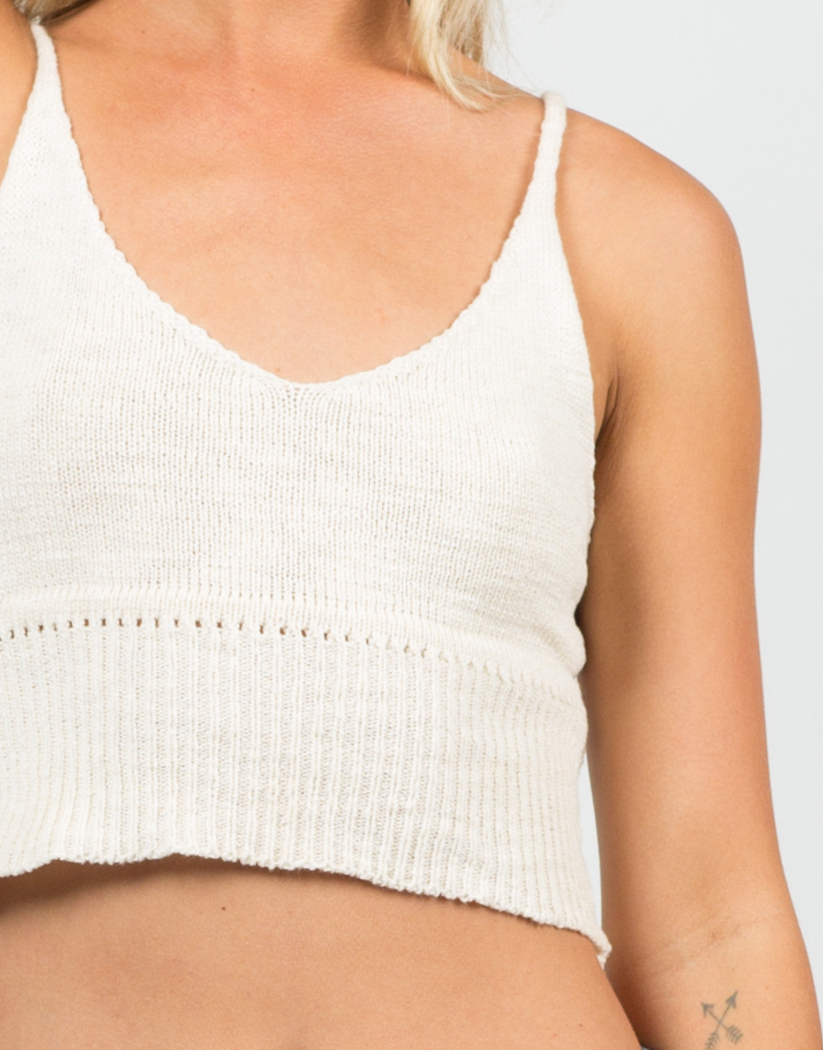 Detail of Knit Cropped Cami - Cream