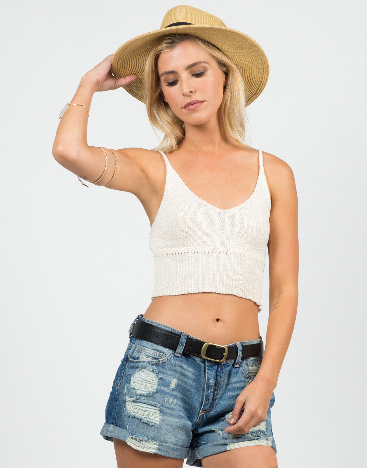 Front View of Knit Cropped Cami - Cream