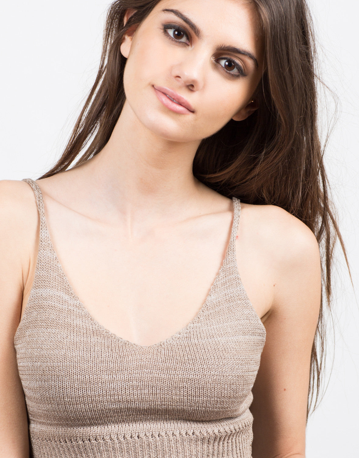 Detail of Knit Cropped Cami - Mocha