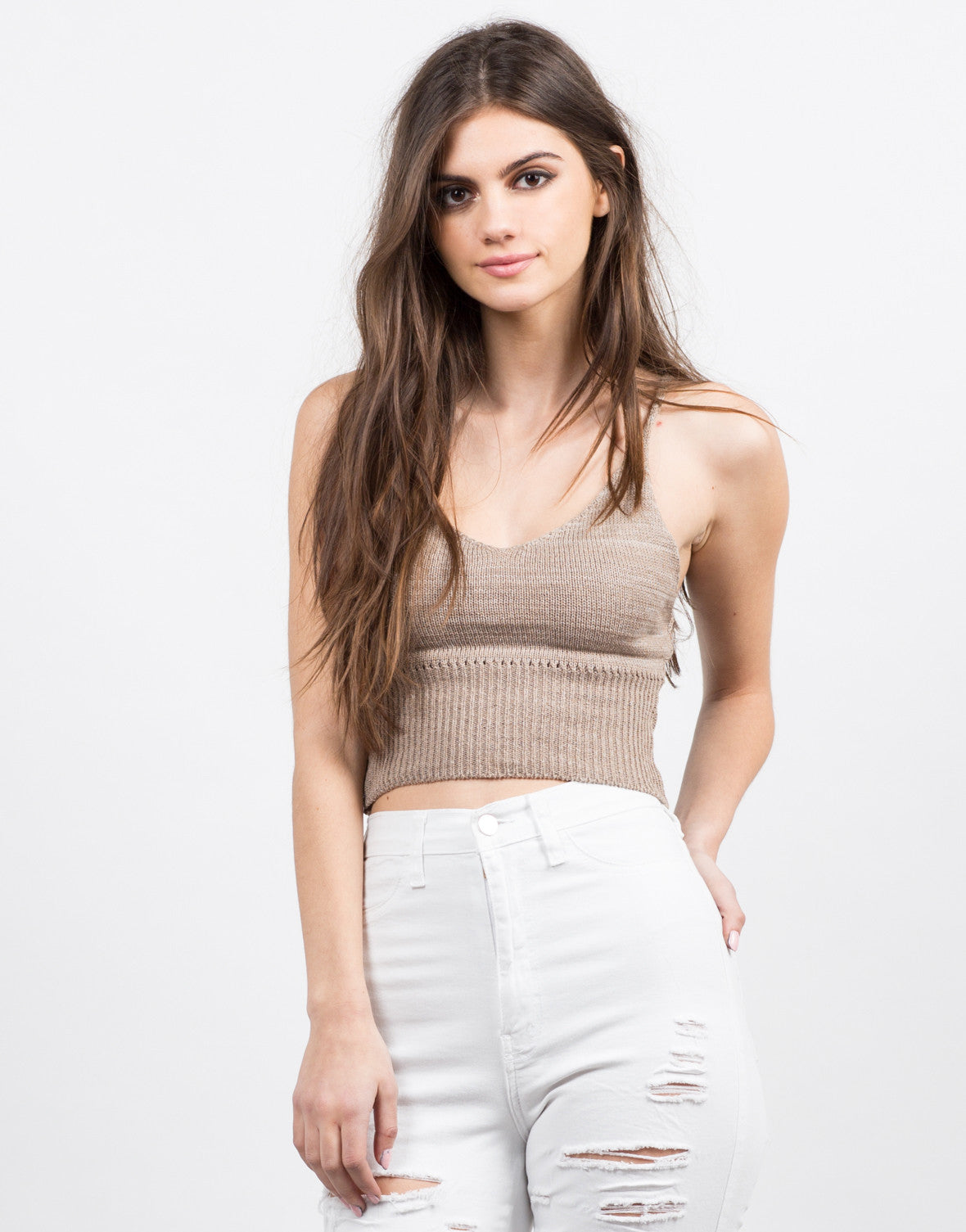 Front View of Knit Cropped Cami - Mocha