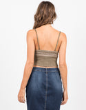 Back View of Knit Cropped Cami - Multi Olive