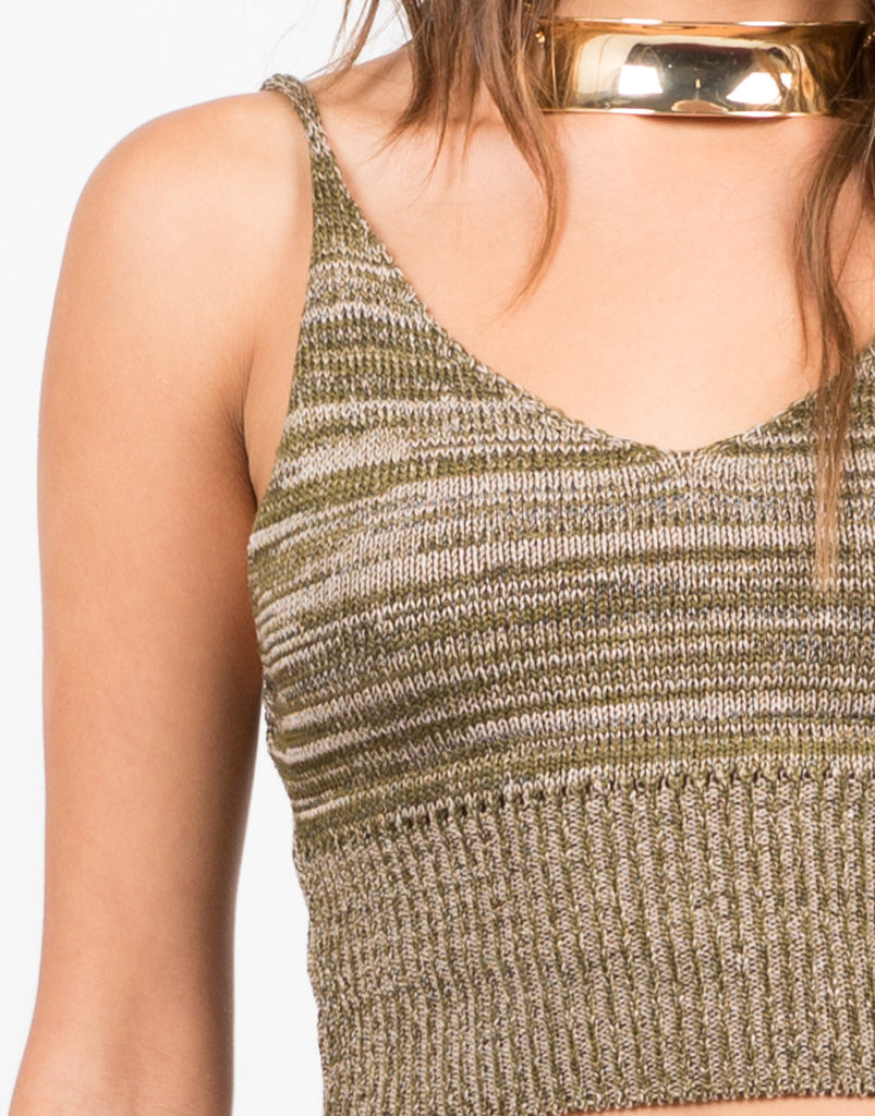 Knit Cropped Cami - Multi Olive - 2020AVE