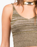 Detail of Knit Cropped Cami - Multi Olive