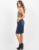 Side View of Knit Cropped Cami - Multi Olive