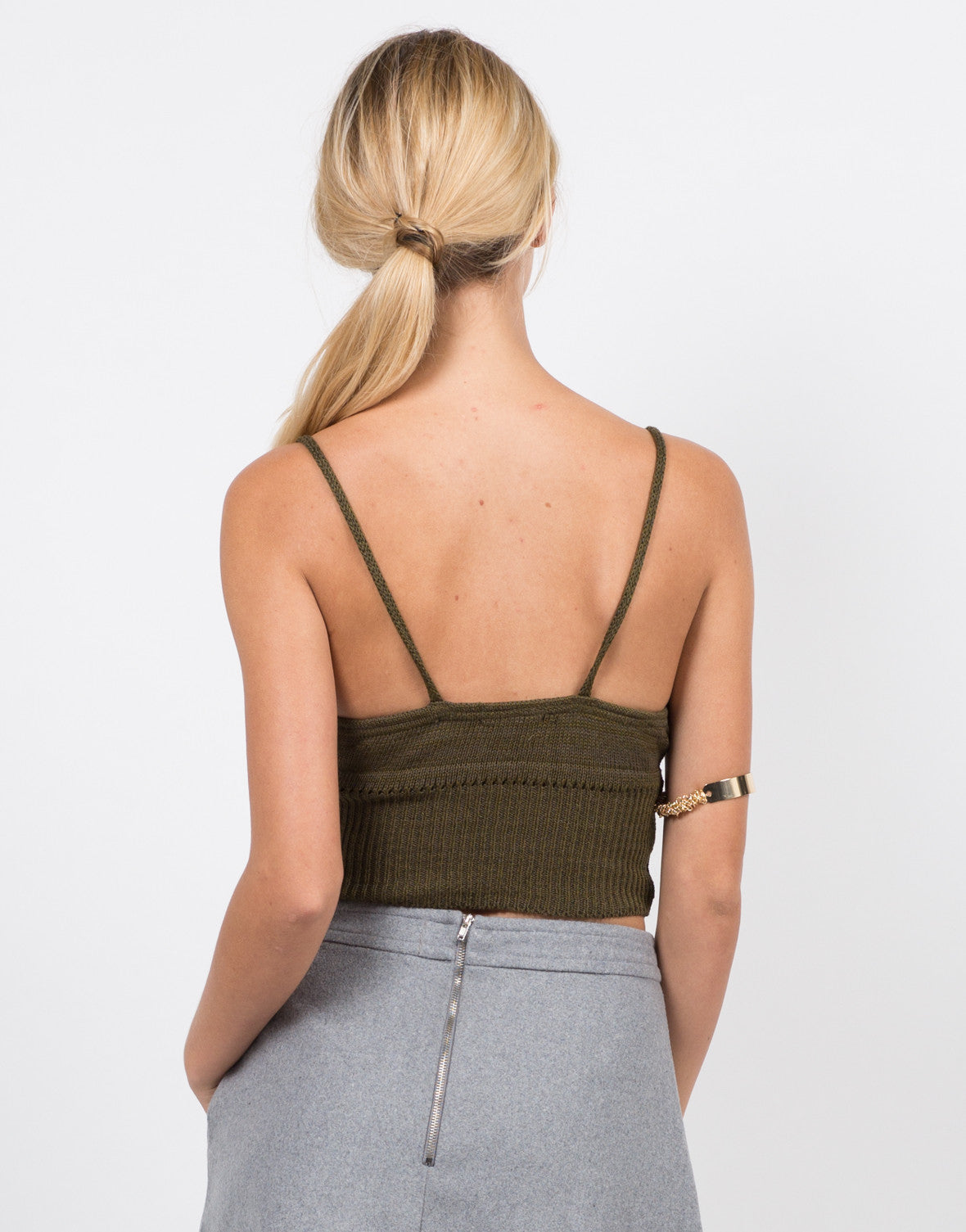 Back View of Knit Cropped Cami - Olive