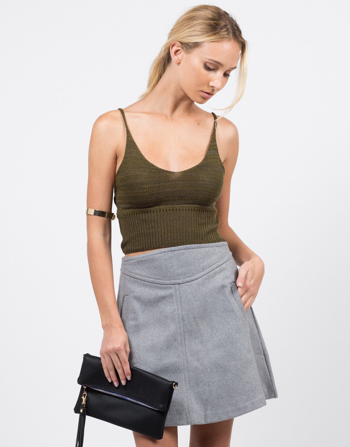 Front View of Knit Cropped Cami - Olive