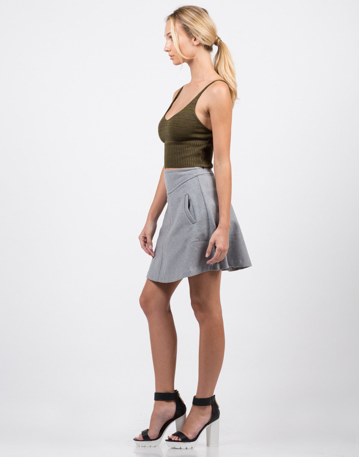 Side View of Knit Cropped Cami - Olive
