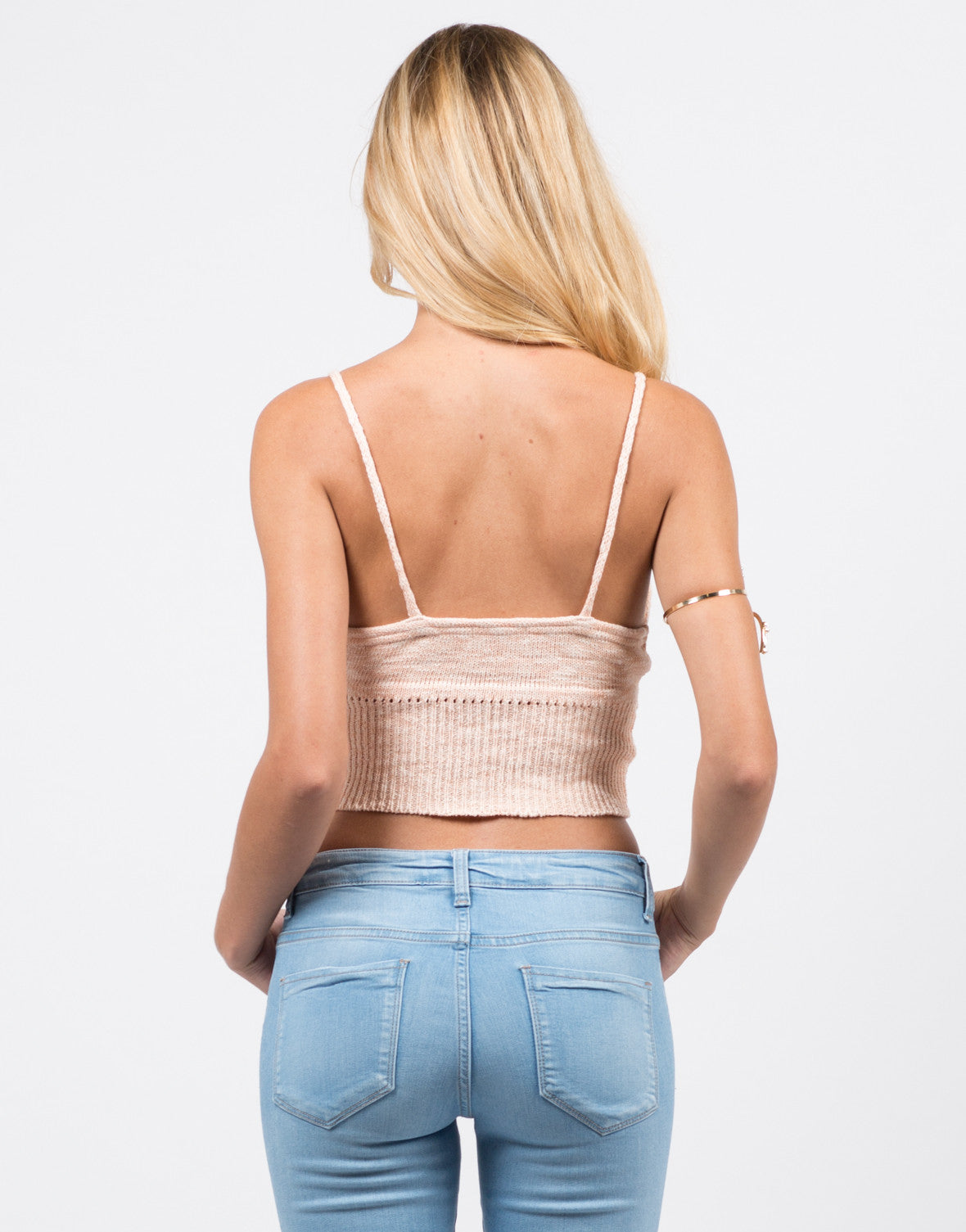 Back View of Knit Cropped Cami - Peach