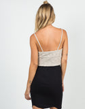 Back View of Knit Cropped Cami - Taupe