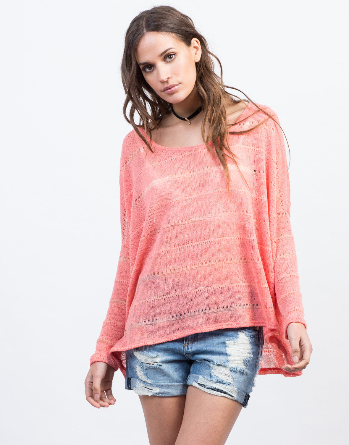 Front View of Knit Dolman L/S Tee
