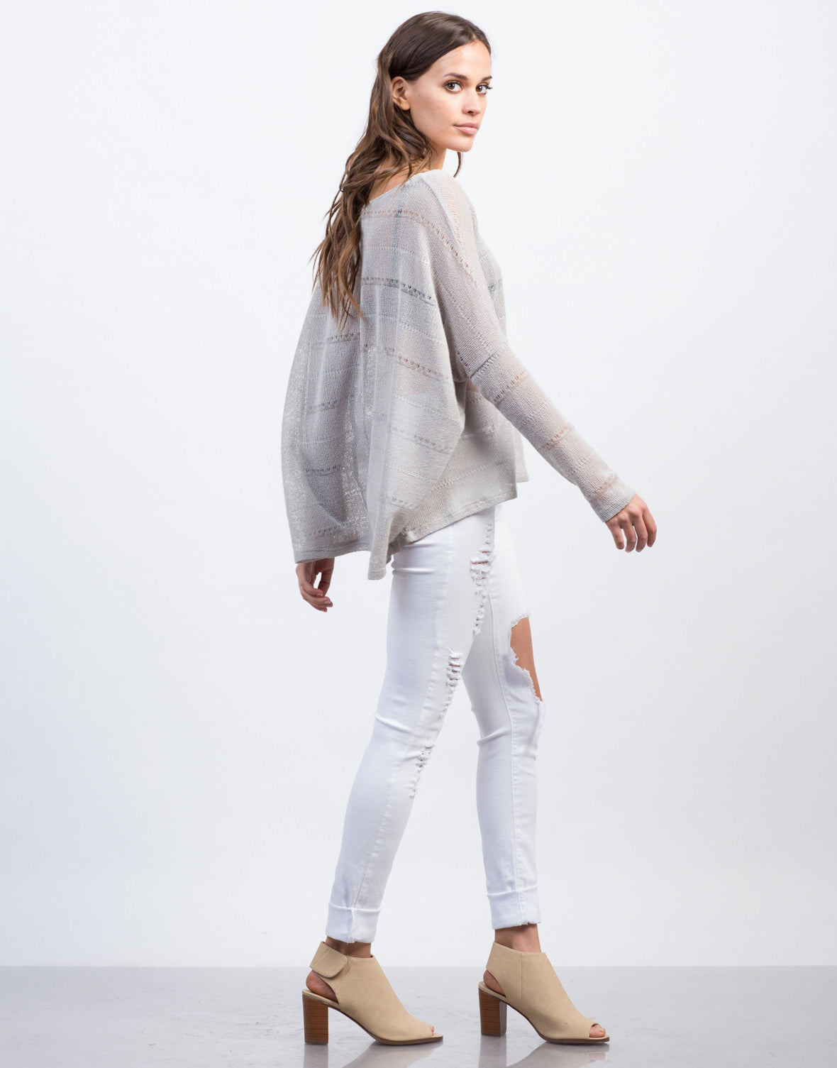 Side View of Knit Dolman L/S Tee