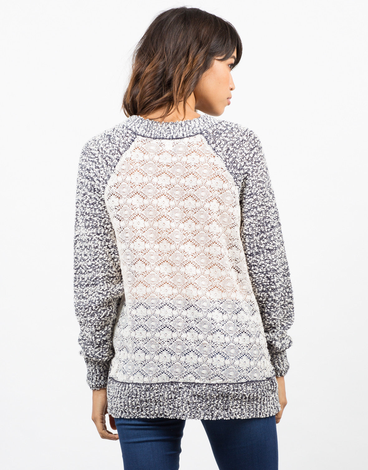 Back View of Knit Lace Back Sweater
