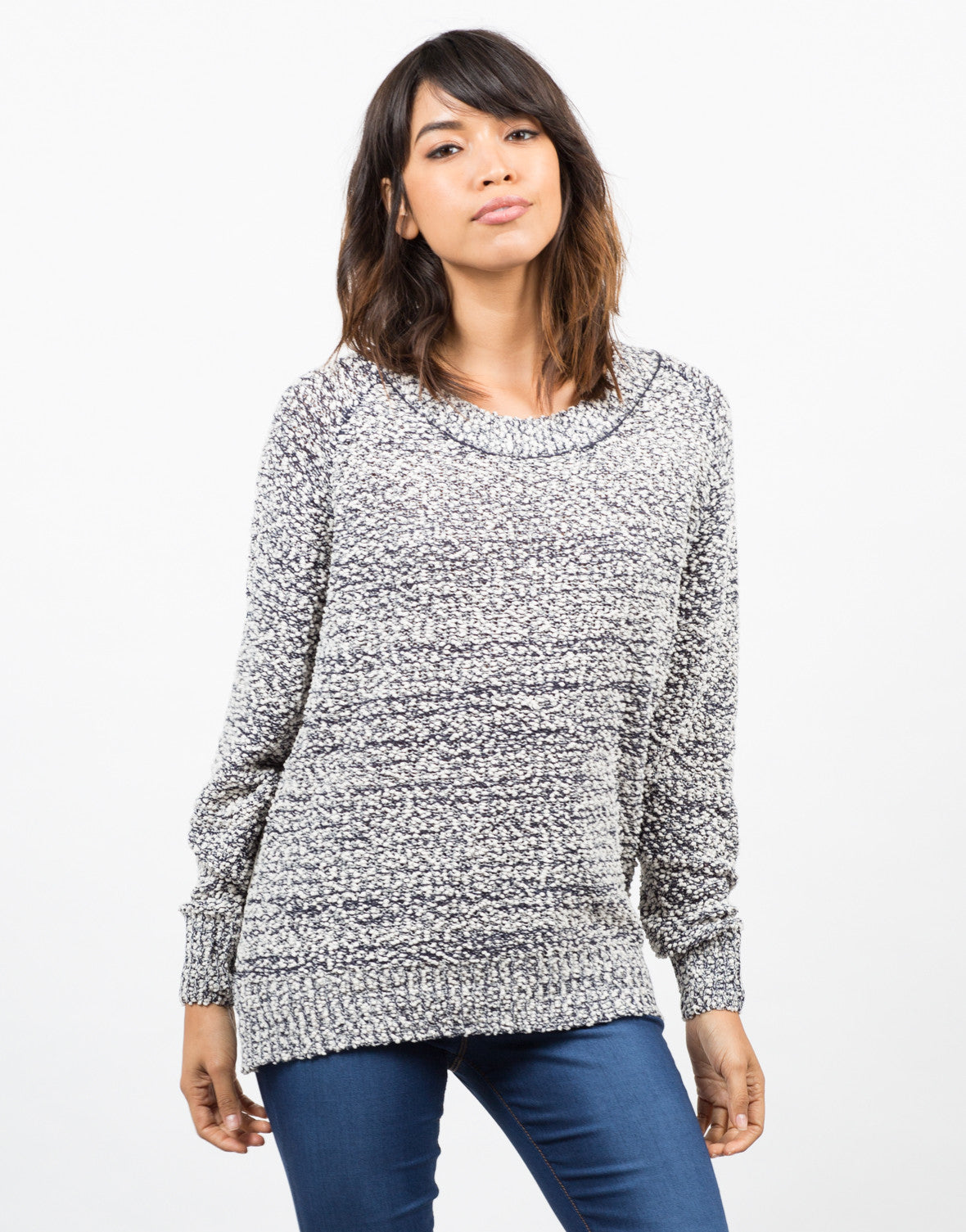 Front View of Knit Lace Back Sweater
