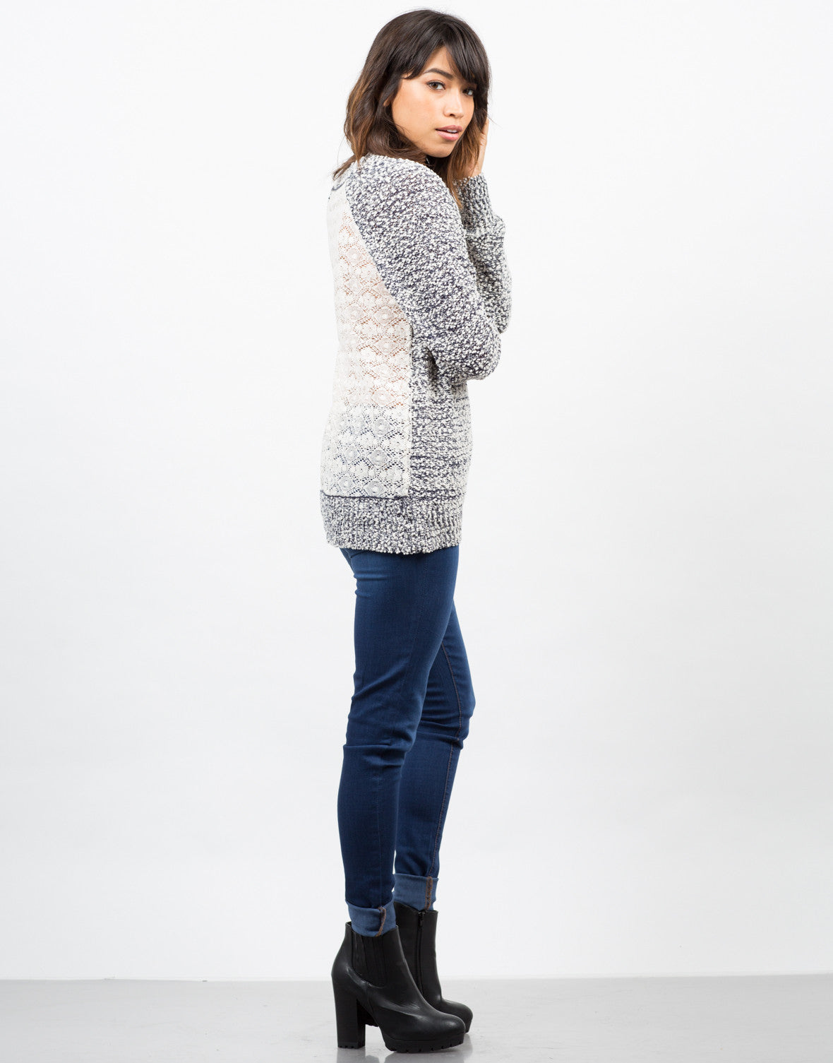 Side View of Knit Lace Back Sweater