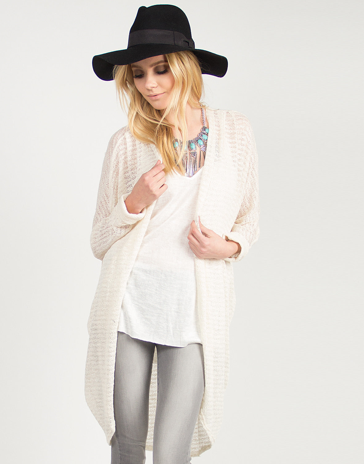 Knit Oversized Cuffed Sleeves Cardigan