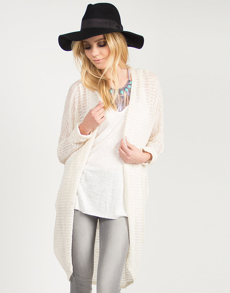 Knit Oversized Cuffed Sleeves Cardigan - 2020AVE
