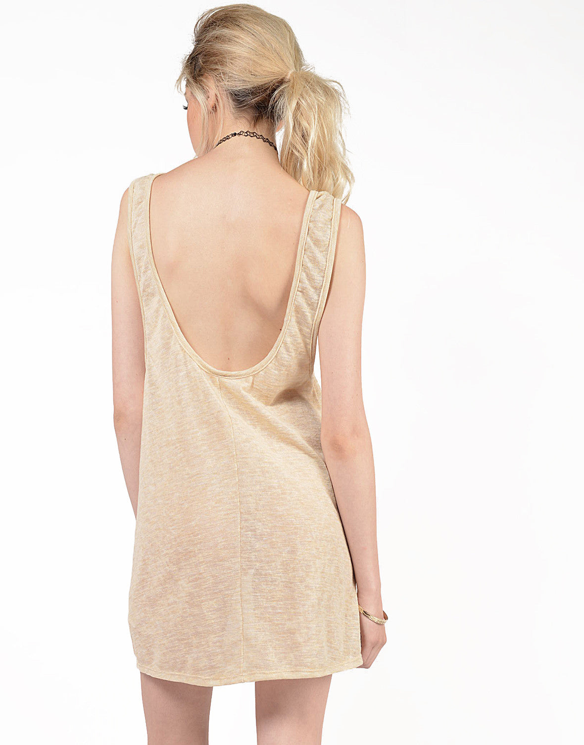 Back View of Knit Scoop Back Dress