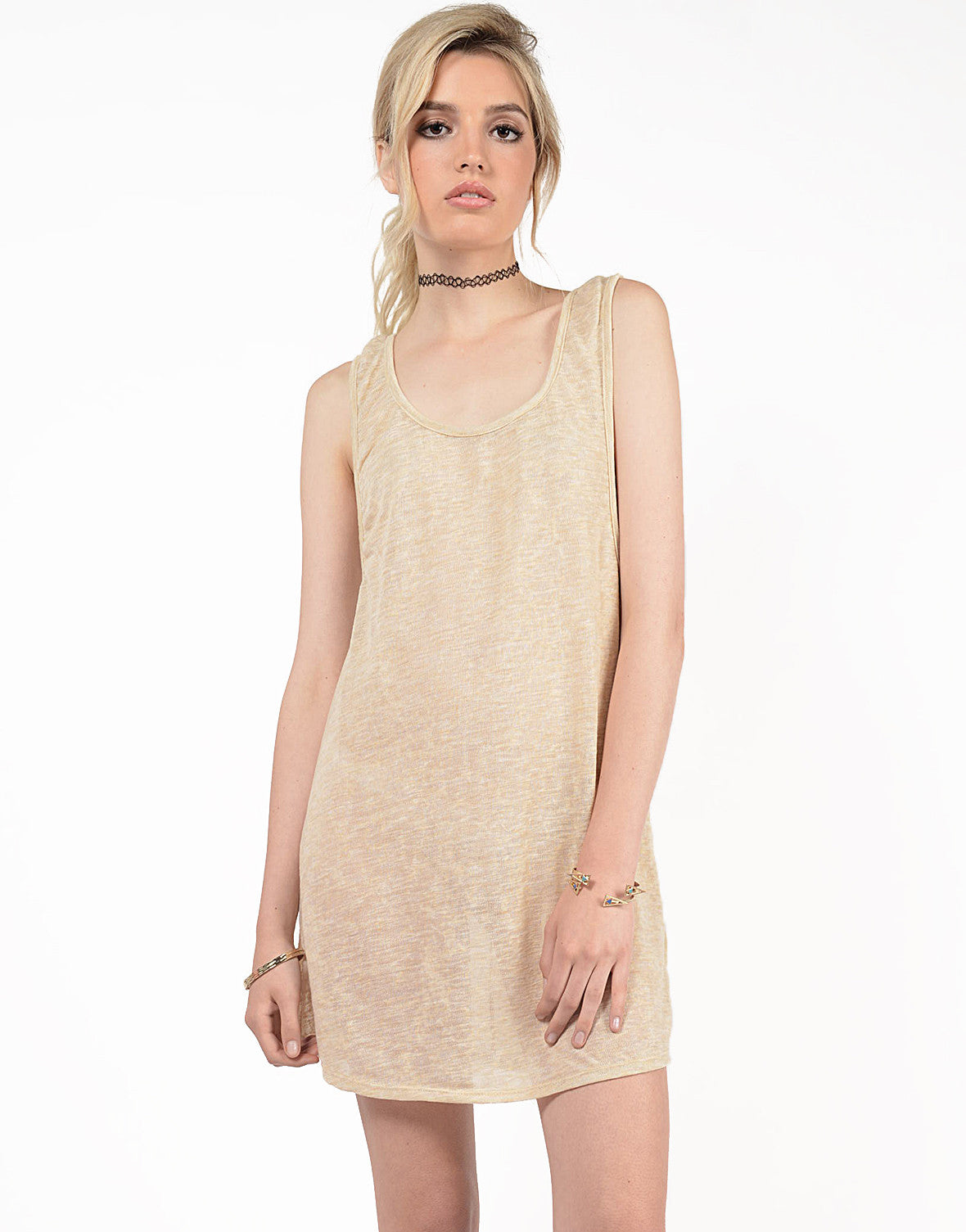Front View of Knit Scoop Back Dress