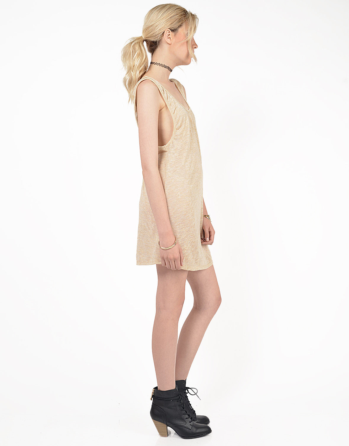 Side View of Knit Scoop Back Dress