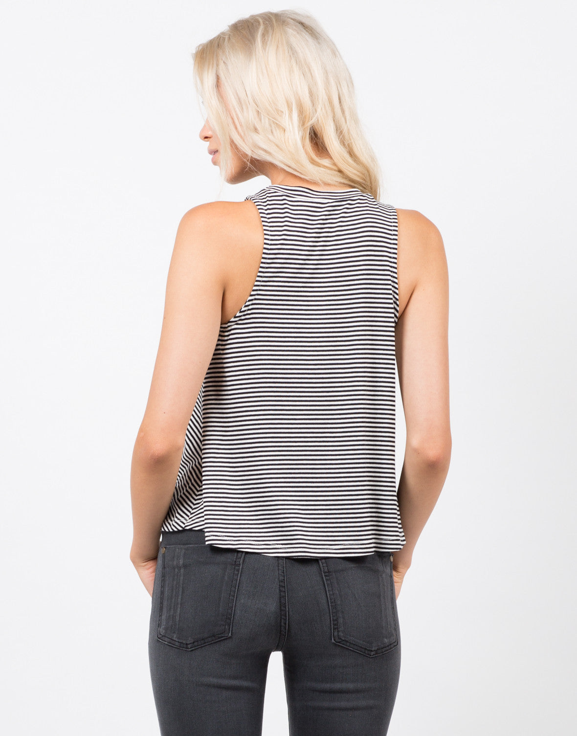 Back View of Knit Striped Sleeveless Tank