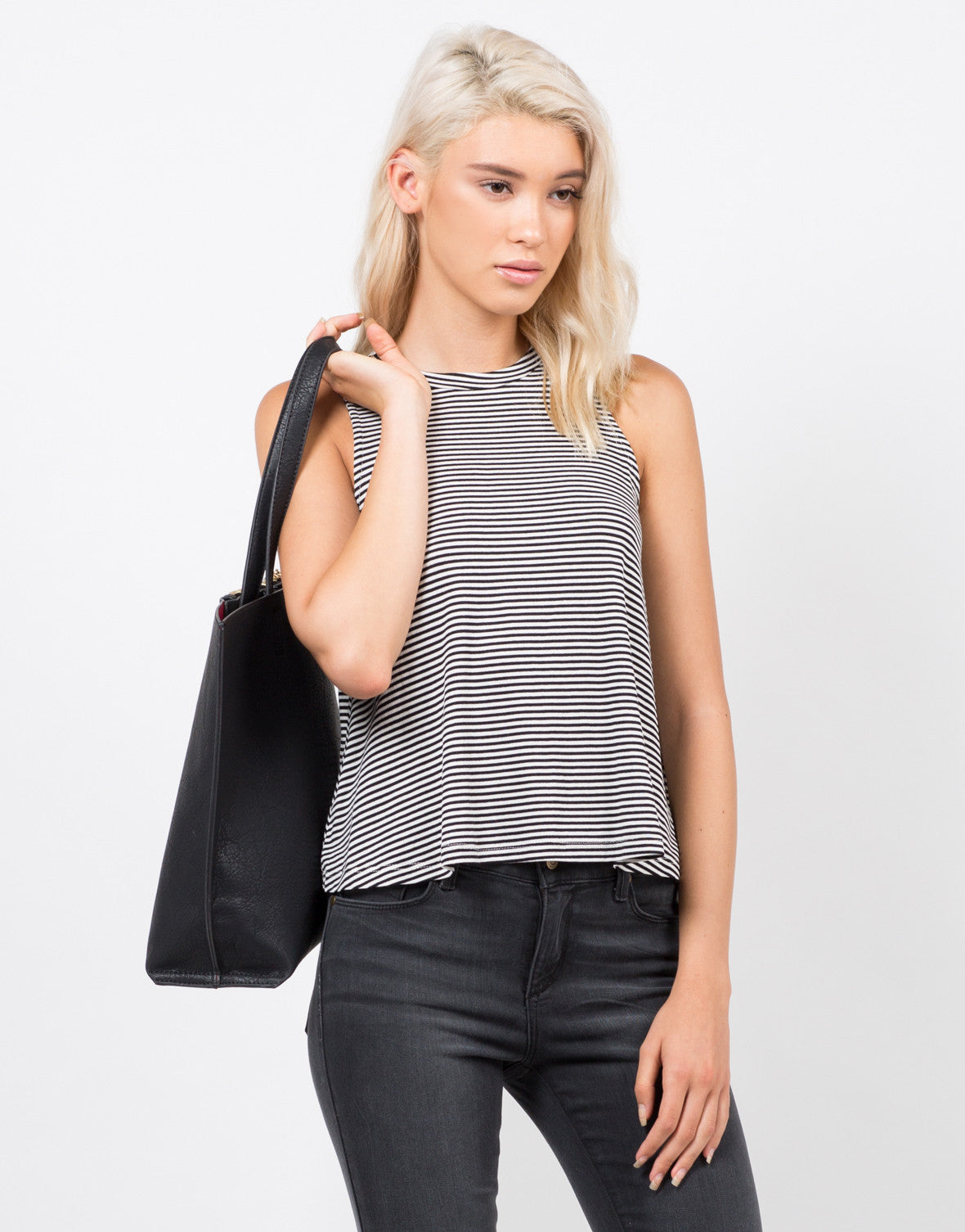 Front View of Knit Striped Sleeveless Tank